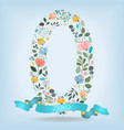 floral number zero with blue ribbon vector image vector image