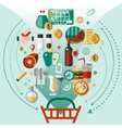 Food icons basket vector image