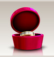 golden and silver ring in round red box vector image