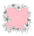 hand drawn card with cherry blossoms vector image vector image