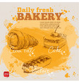 hand drawn sketch cake eclair and cream roll vector image