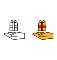 hand with gift icon give a gift vector image