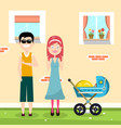 happy family with house on background and baby vector image vector image
