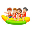 happy kids ride on banana boat vector image
