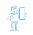 happy man holds a smartphone in his hand and shows vector image