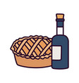 happy thanksgiving day sweet pie and wine bottle vector image vector image