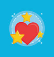 heart and stars icon vector image