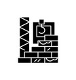 high-rise construction black icon sign on vector image vector image