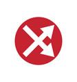 icon crossed arrow in color circle vector image vector image