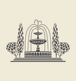icon vintage park fountain with steps and trees vector image vector image