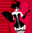 lady in a black corset vector image