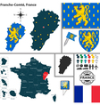 Map of Franche Comte vector image vector image