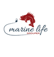 marine life with grouper vector image vector image
