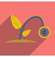 Modern flat icon with shadow money plant vector image vector image