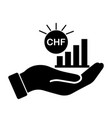 palm out chf swiss franc growth bar chart black vector image vector image