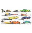 race car drag racing on speedcar on a track vector image vector image