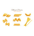 realistic italian pasta spaghetti types set vector image vector image