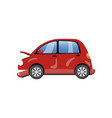 red car damaged in a road accident cartoon vector image vector image
