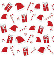 red christmas hat sticks floral seamless pattern vector image