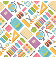 school items seamless pattern on white background vector image vector image