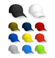 set baseball caps isolated on white vector image vector image