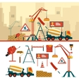 set of construction site objects and tools vector image vector image