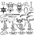 set of cowboy design elements cowboy boots hats vector image vector image