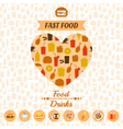 set of fast food icons background labels vector image
