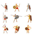 set of roman warriors fighting with different vector image vector image