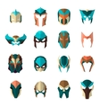 Set of super hero masks in flat style Big vector image
