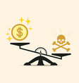 skull and money on a two pan balance vector image vector image