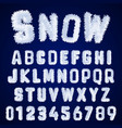snow alphabet template letters and numbers white vector image vector image
