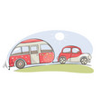 summer travel in a house on wheels vector image vector image