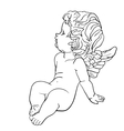 Tired little angel vector image vector image