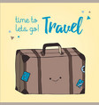 travel bag hand drawn style retro suitcase vector image vector image