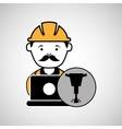 under construction laptop worker jackhammer vector image vector image