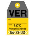 veracruz airport luggage tag vector image vector image