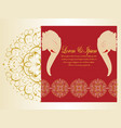 wedding card red and gold elephantmandala flower vector image