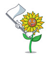 with flag sunflower mascot cartoon style vector image