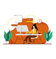 woman working at home office character sitting vector image