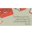 Office table with stationery items and quote vector image