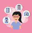 female doctor with glasses and medical icons vector image