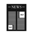 Newspaper with space for ad icon simple style vector image