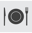 Plate fork and knife icon vector image