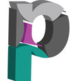 3d font letter p vector image
