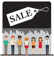A sale tag with faceless people vector image vector image