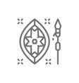 african spear and shield line icon