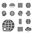 ai and iot icons set symbols in flat outline vector image vector image