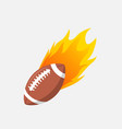 american football ball in fire flame rugby vector image vector image