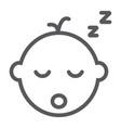 baby boy sleep line icon child and sleep vector image vector image